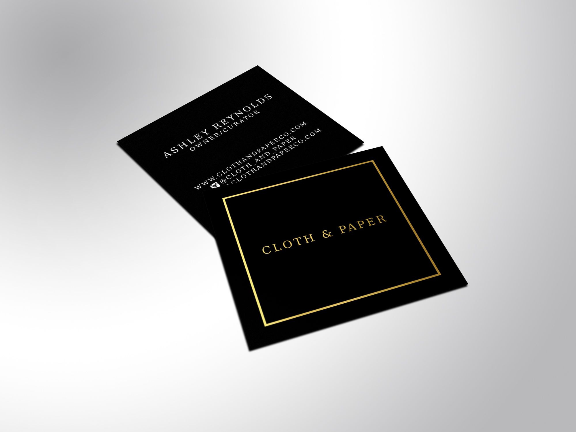 Square Foil Business Cards - Gold, Silver, or Copper