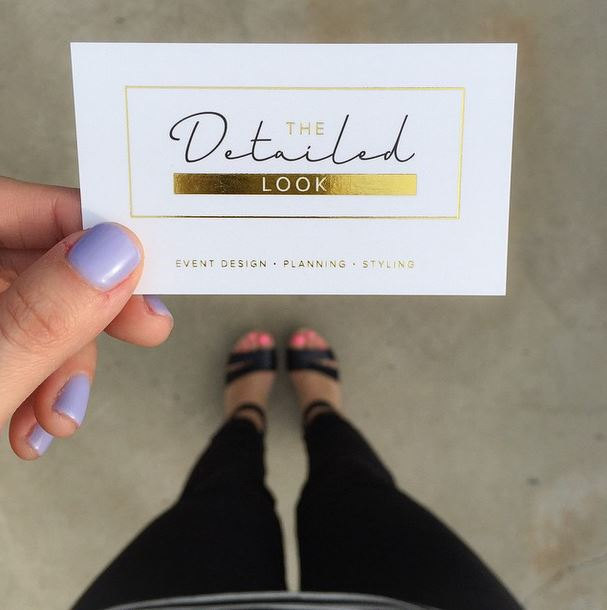 gold foil business cards with silk