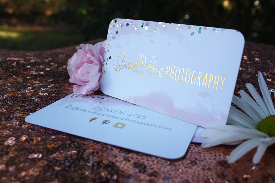 photographer gold foil business cards