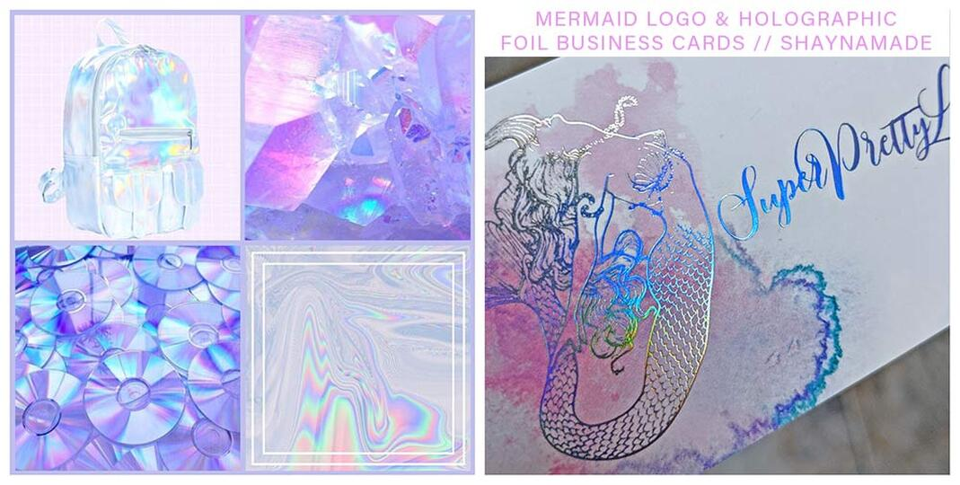 Hand drawn mermaid logo design. Holographic foil business cards for lash artist, Super Pretty lashes.