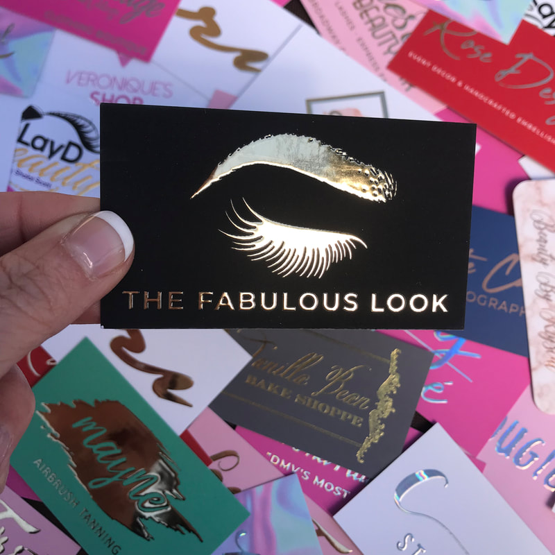 Beautiful eyebrow and eyelash business cards with a thick layer of gold foil applied. Super soft to the touch.