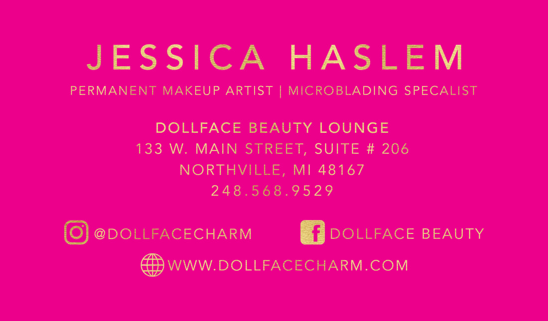 Jessica permanent makeup artist business cards gold foil 2 business cards they will have rounded corners upon printing colourmoves