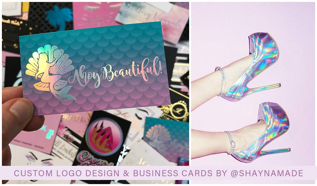 Mermaid business cards that are GORGEOUS. Mermaid scale background with rainbow holographic foil. Her logo is a mermaid sitting inside of a shell holding up a pearl. As you move these business cards in the light it reflects all the colors of the rainbow.