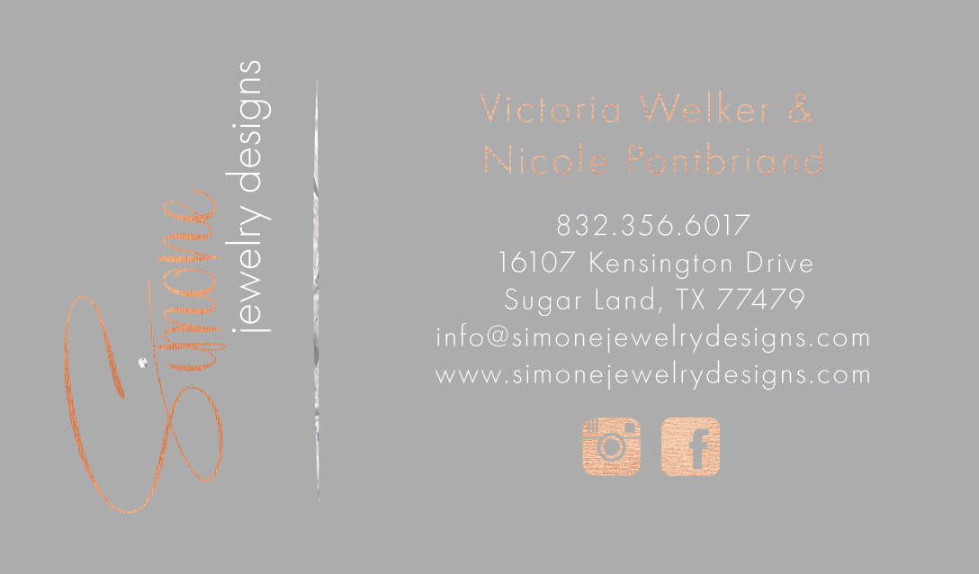 Simone jewelry designs gold foil business cards promised satisfaction shaynamade specializes in beautifully crafted business cards reheart Image collections